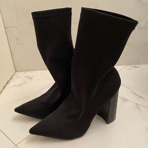 Tony Bianco Diddy Black Lycra Ankle Boots